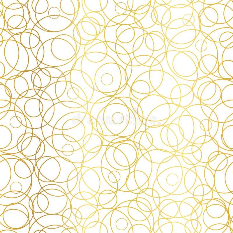 传染媒介金黄抽象圈子泡影无缝的样式背景 伟大为典雅的金子纹理织品,卡片 向量例证