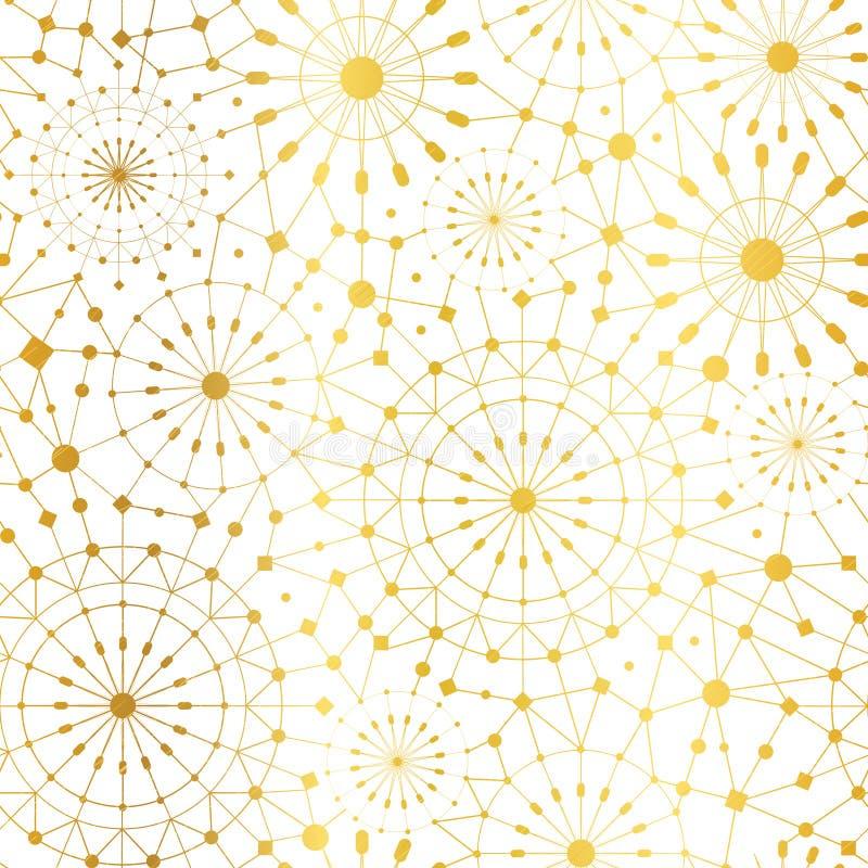 传染媒介金黄白色抽象网络金属圈子无缝的样式背景 伟大为典雅的金子纹理织品 皇族释放例证