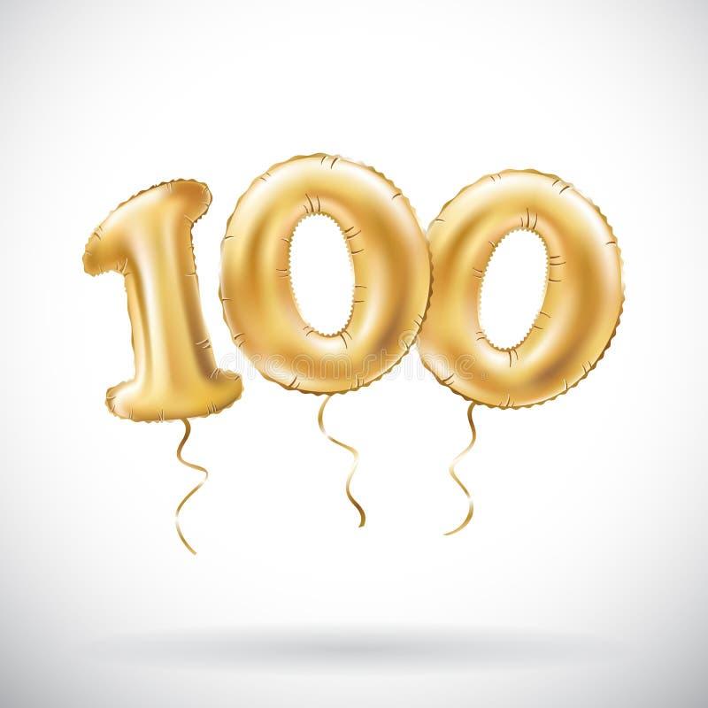 传染媒介金黄第100一百个金属气球 党装饰金黄气球 周年标志为愉快的假日, celebrati 向量例证