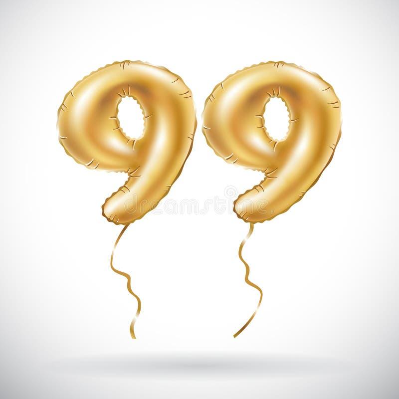 传染媒介金黄第99九十九金属气球 党装饰金黄气球 周年标志为愉快的假日, celebr 库存例证