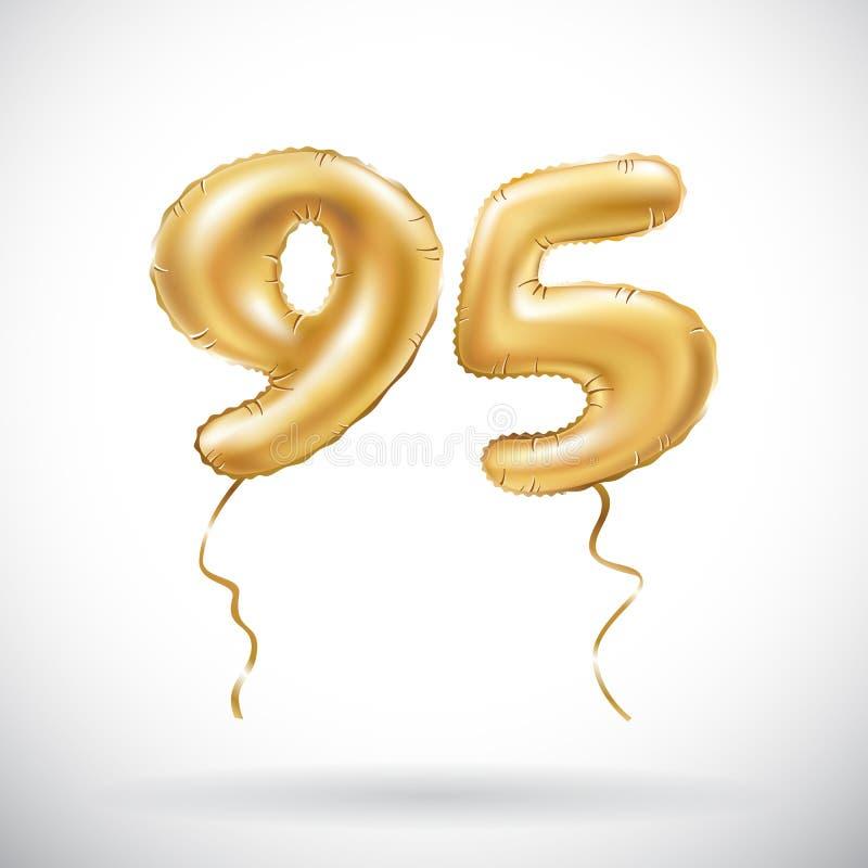 传染媒介金黄第95九十五个金属气球 党装饰金黄气球 周年标志为愉快的假日, celebr 库存例证