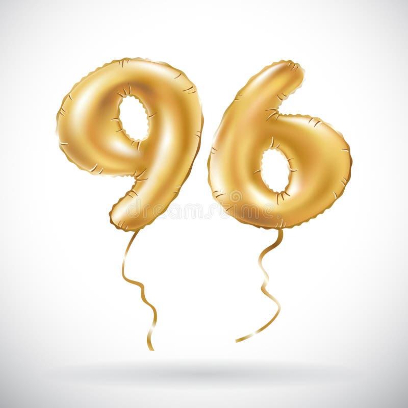 传染媒介金黄第96九十六个金属气球 党装饰金黄气球 周年标志为愉快的假日, celebra 皇族释放例证
