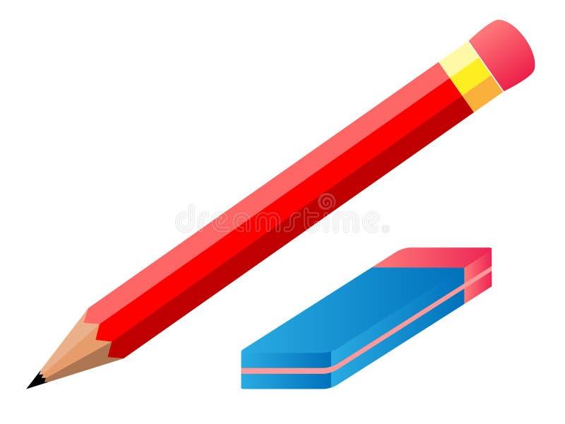 传染媒介铅笔和橡皮擦 库存例证