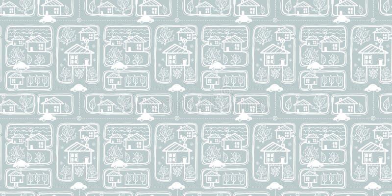 传染媒介银灰色乱画镇街道无缝的纹理重复样式bacgkround设计 伟大为春天问候 库存例证