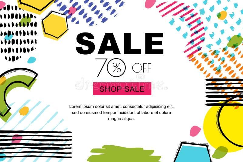 传染媒介销售横幅,海报背景 抽象乱画纹理和几何形状在白色背景 库存例证