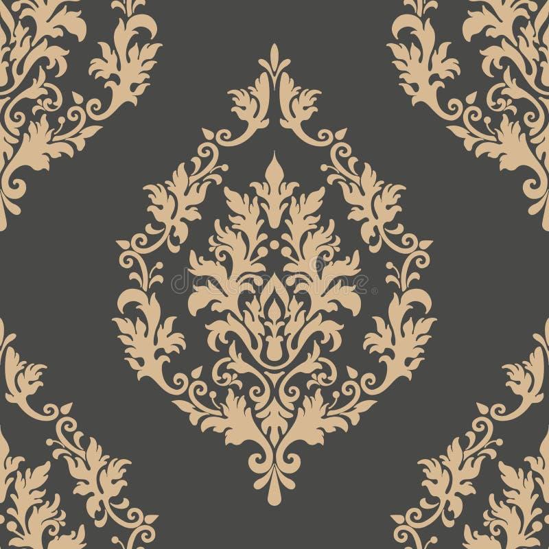传染媒介锦缎无缝的样式元素 古典豪华古板的锦缎装饰品,皇家维多利亚女王时代的无缝的纹理 皇族释放例证