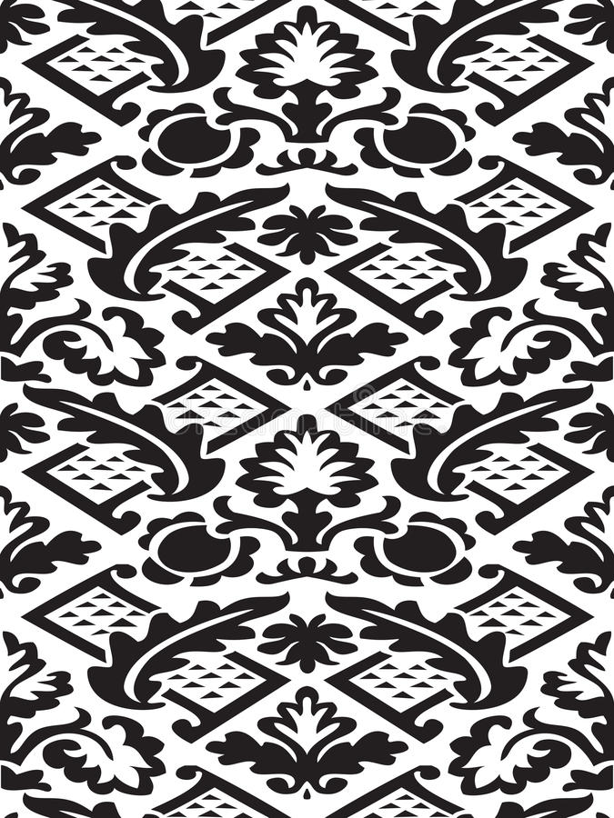传染媒介锦缎无缝的花卉样式黑白背景 库存例证