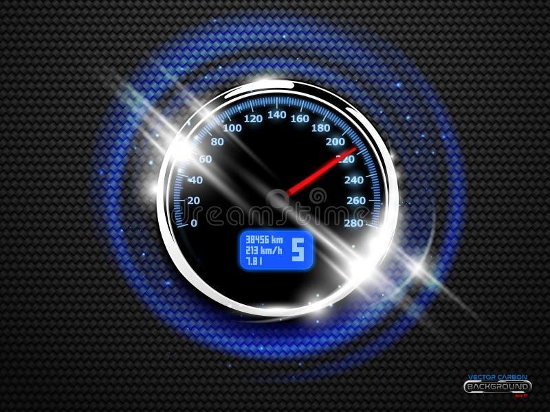 传染媒介镀铬物圆环在黑碳背景的车速表焕发 向量例证