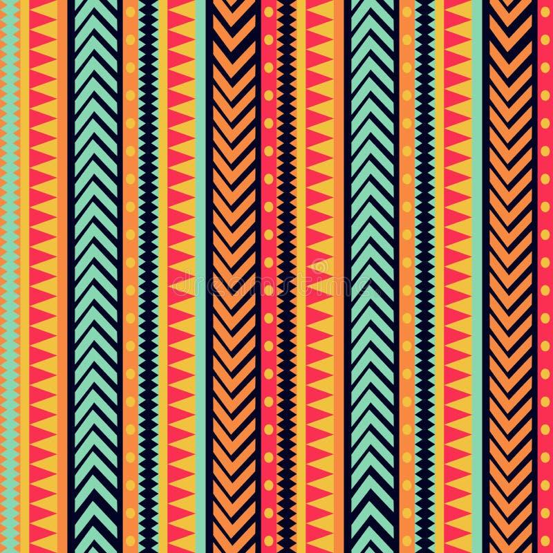 传染媒介镶边样式 部族纹理,五颜六色的装饰品 向量例证