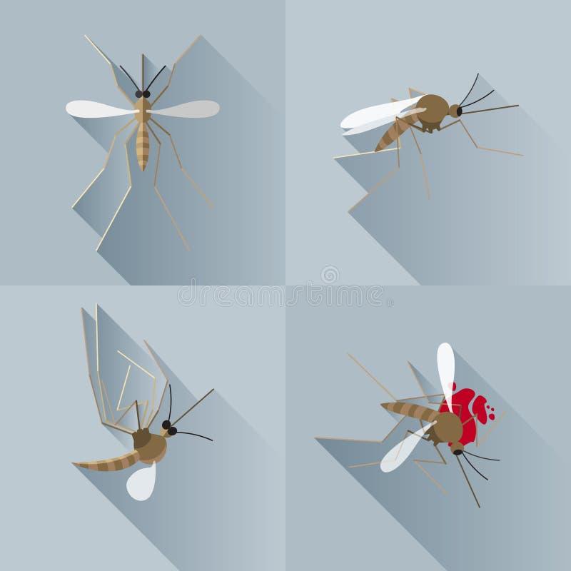 传染媒介长的阴影蚊子死的剪影 免版税库存图片