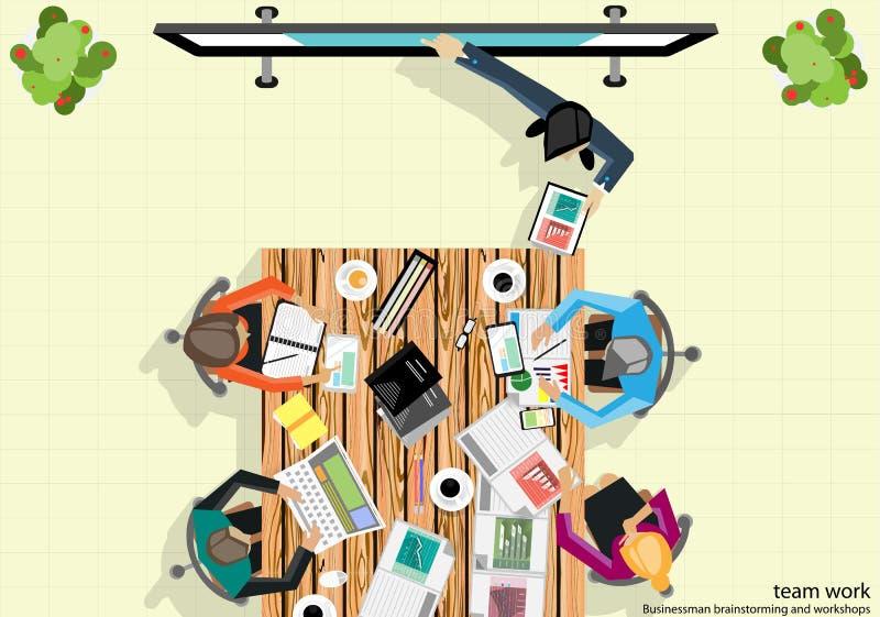 传染媒介队工作商人对销售计划的激发灵感分析 向量例证
