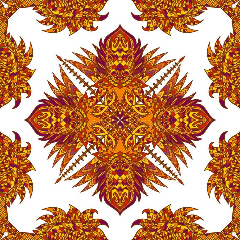 传染媒介阿兹台克几何无缝的样式 与一件拉丁美洲的装饰品的背景 皇族释放例证