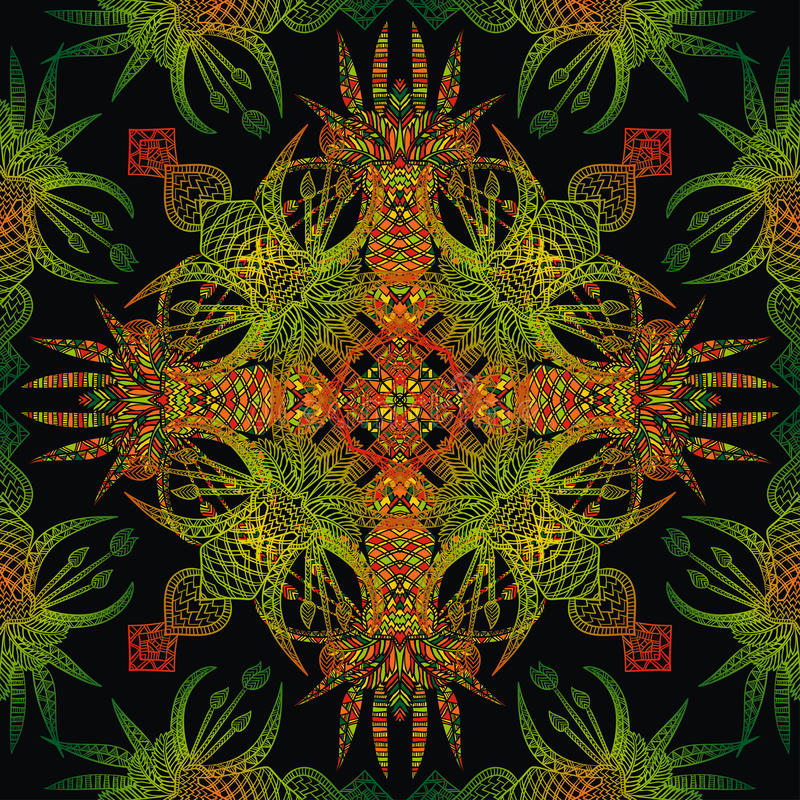 传染媒介阿兹台克几何无缝的样式 与一件拉丁美洲的装饰品的背景 库存例证