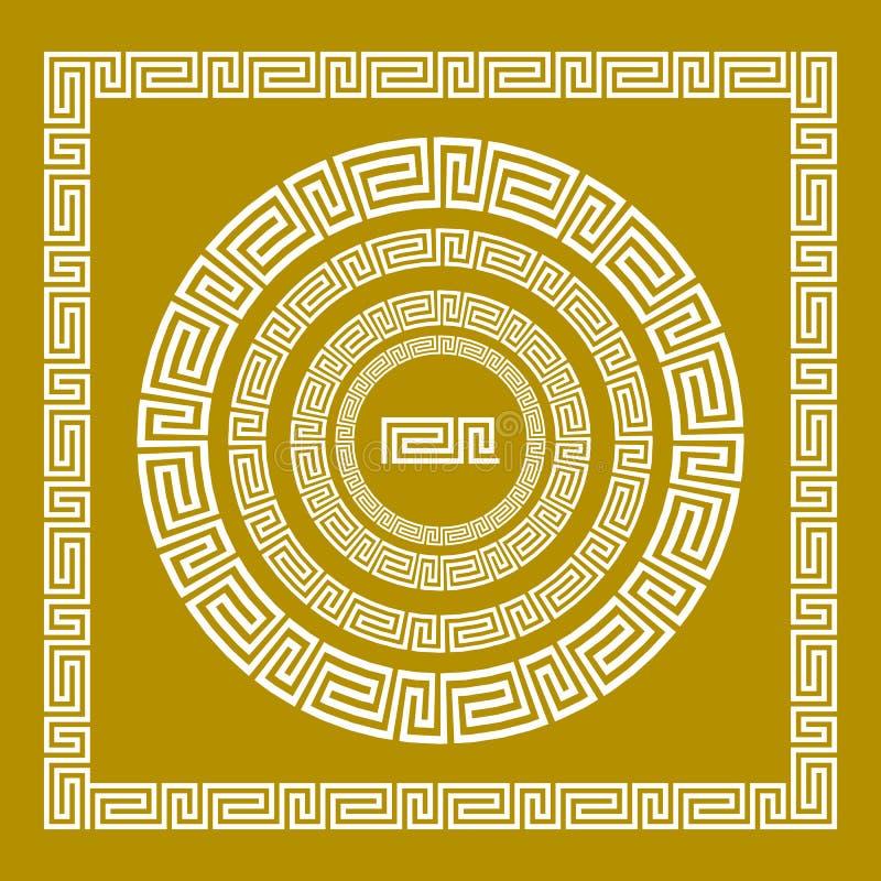 传染媒介集合传统葡萄酒金黄正方形和圆的希腊装饰品河曲和花卉样式在黑背景 向量例证