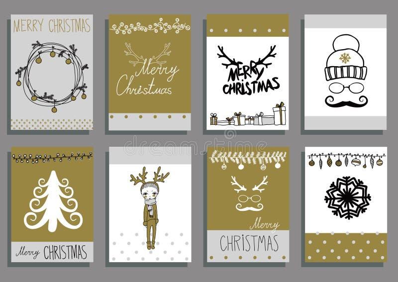 传染媒介集合圣诞节书法设计元素 向量例证