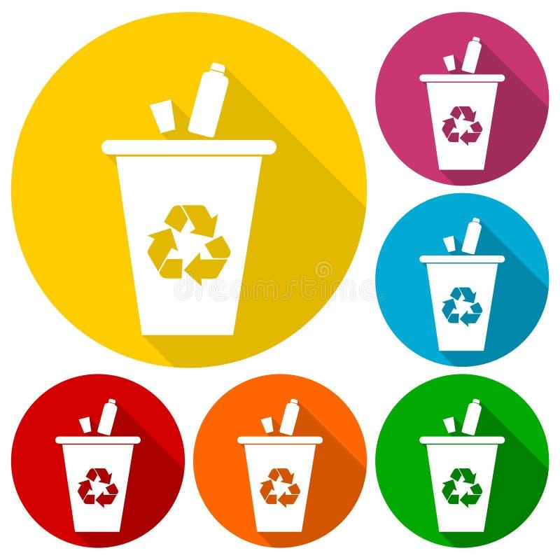传染媒介集合垃圾和垃圾象的回收站设置与长的阴影 库存例证