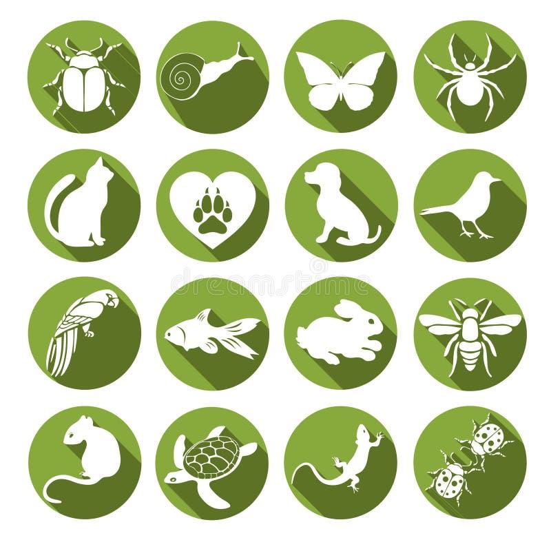 传染媒介集合平的网象动物和昆虫 与长的阴影的白色在互联网,流动apps的圆的绿色框架 库存例证