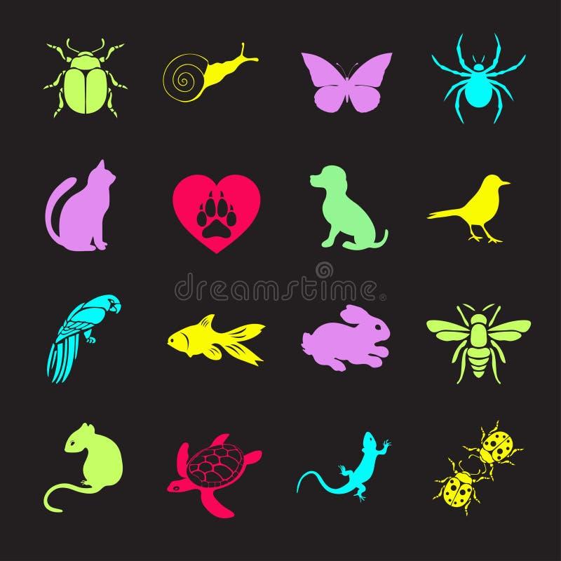 传染媒介集合平的网象动物和昆虫 多彩多姿为互联网,流动apps,接口设计,宠物商店站点 库存例证