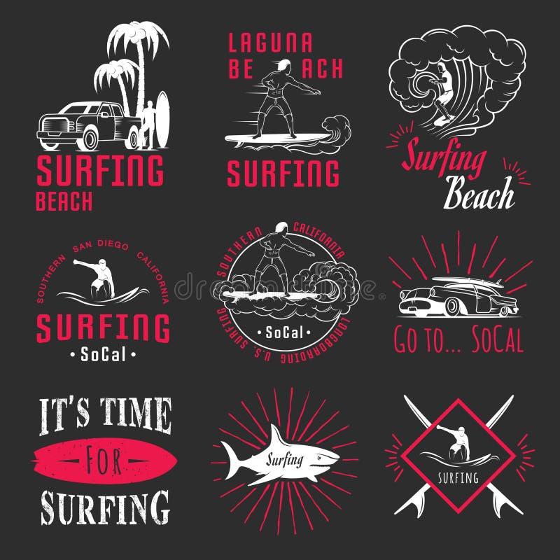 传染媒介集合海浪徽章、标志和商标 向量例证