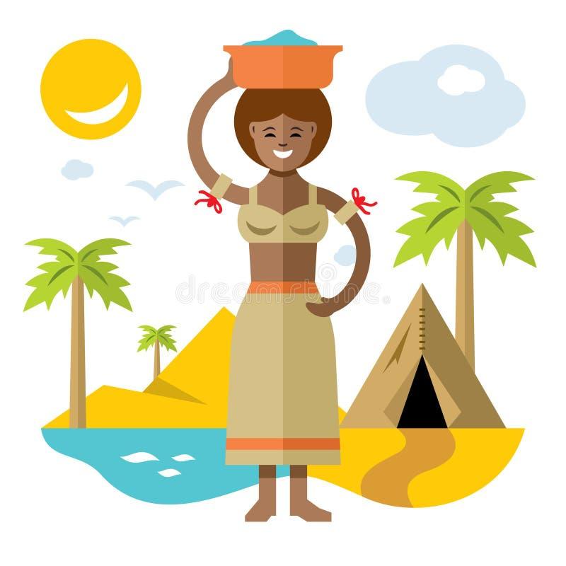 传染媒介非洲人洗衣女工 平的样式五颜六色的动画片例证 皇族释放例证