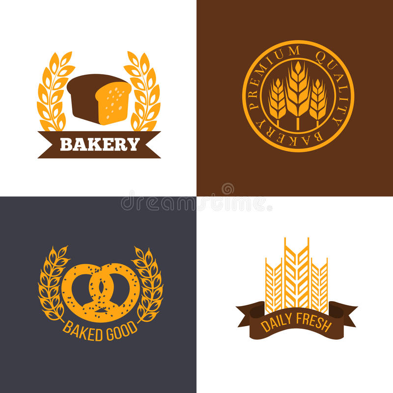 传染媒介面包店和面包商店商标标记与麦子耳朵的徽章 皇族释放例证