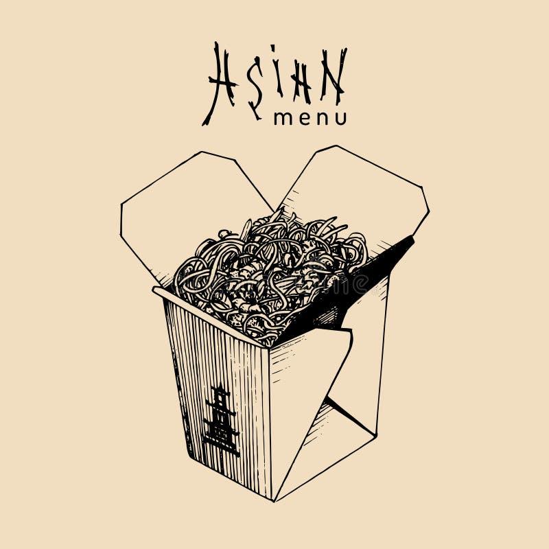 传染媒介面条箱子例证 有亚洲菜单文本的铁锅 中国面团商标 日本食物外卖纸盒剪影 向量例证