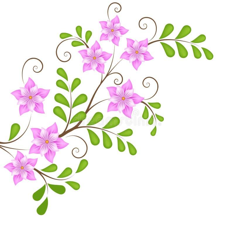 传染媒介页装饰的花卉设计元素 库存例证