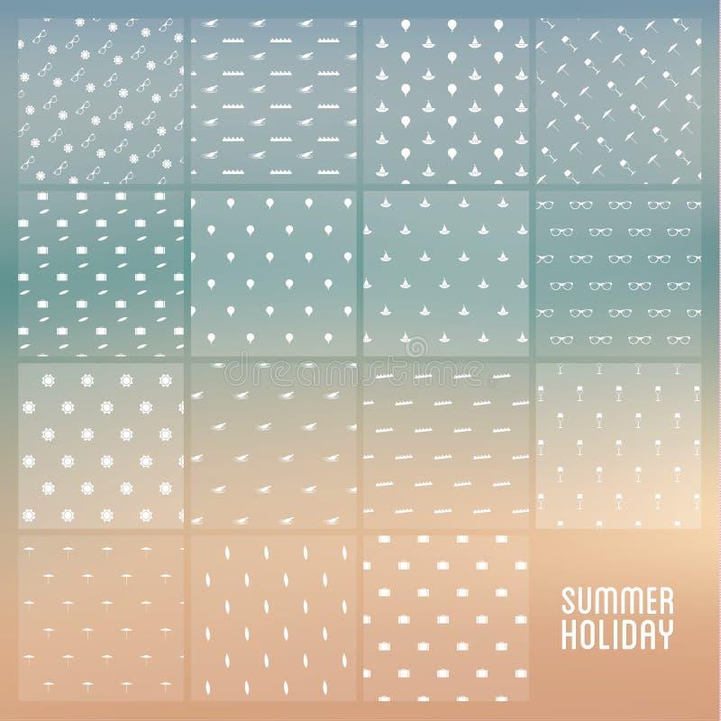 传染媒介主题无缝的纹理组装 简单的暑假轻拍 皇族释放例证