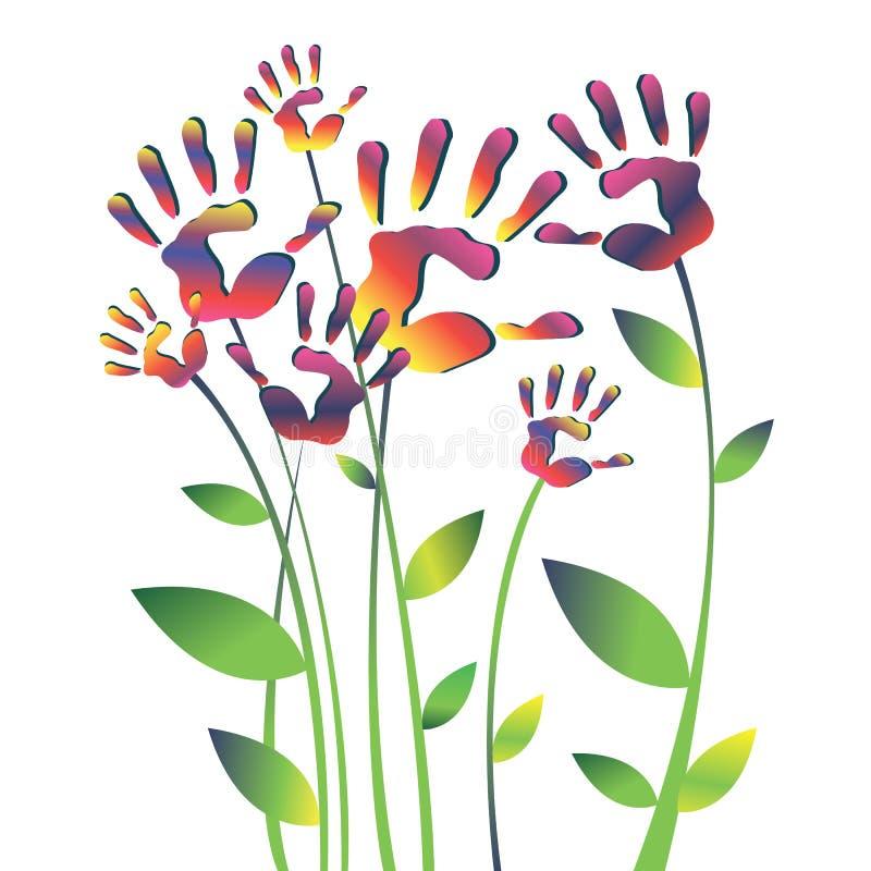 传染媒介颜色手handprint线性剪影 向量例证