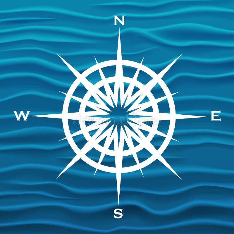 传染媒介风上升了在蓝色波浪背景 库存例证