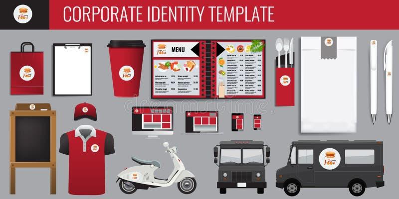 传染媒介食物公司本体模板设计集合 红色和黑颜色烙记的传染媒介嘲笑为您的设计 皇族释放例证