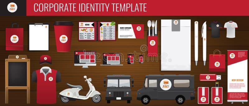 传染媒介食物公司本体模板设计集合 红色和黑颜色烙记的传染媒介嘲笑为您的设计 向量例证