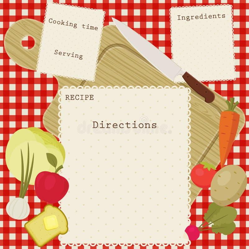 传染媒介食谱卡片 库存例证
