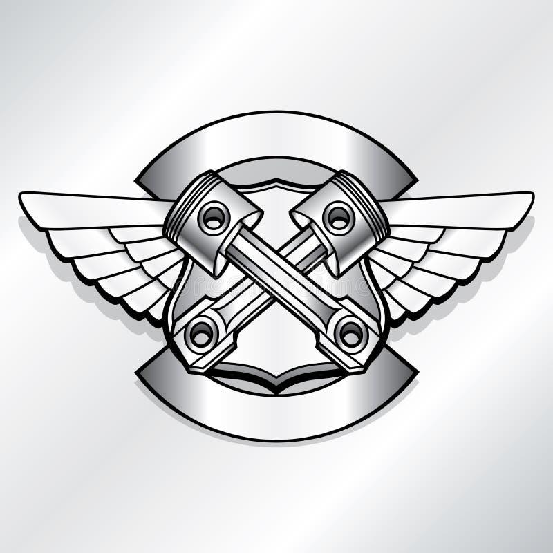 传染媒介骑自行车的人商标例证 马达俱乐部活塞 皇族释放例证