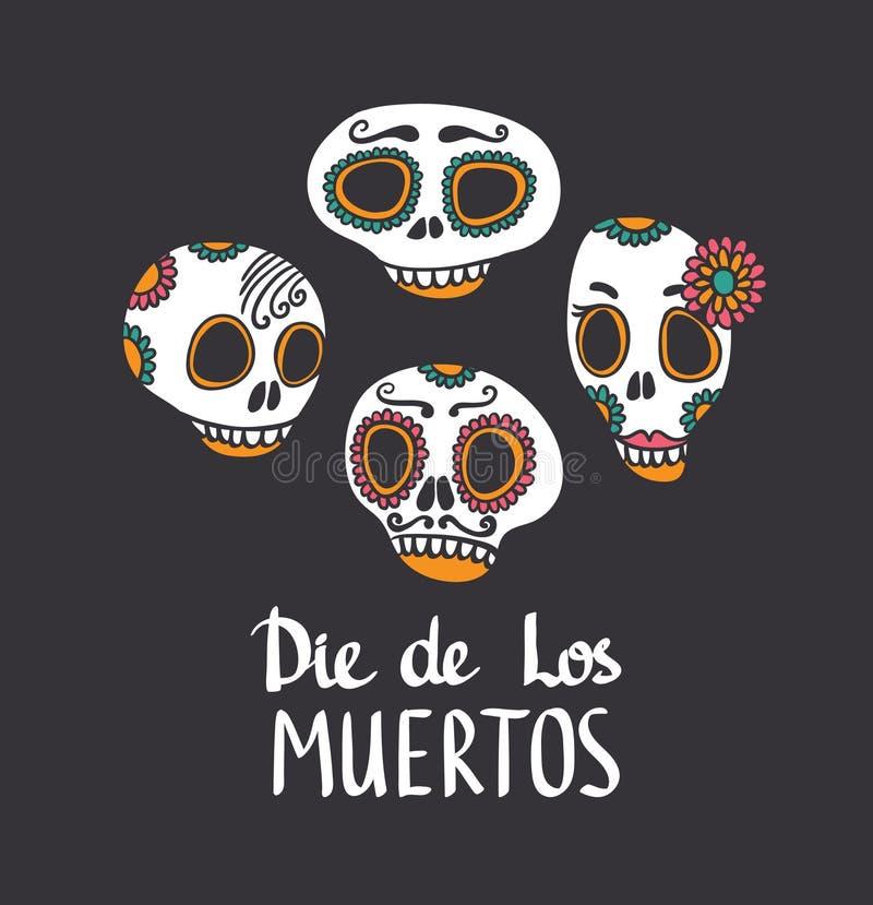 传染媒介头骨集合,死者的墨西哥天 库存例证