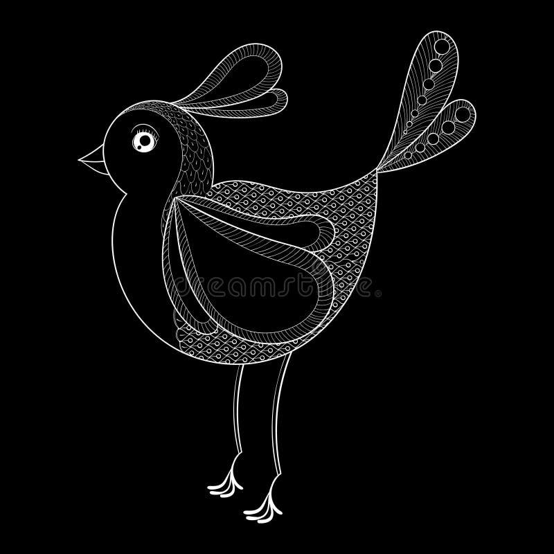 传染媒介鸟 与zentangled鸟的着色页 手拉的patt 向量例证