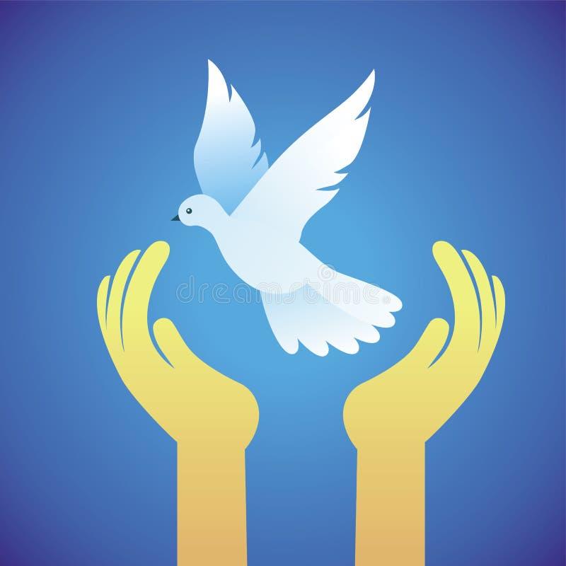 传染媒介鸠和人手-和平标志 库存例证