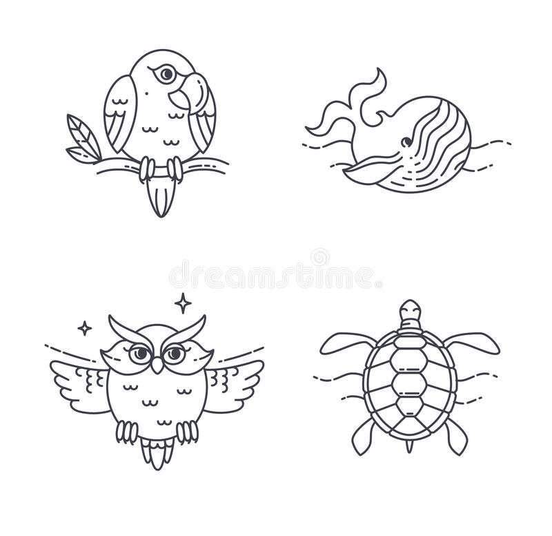 传染媒介鹦鹉、猫头鹰、轮子和乌龟 皇族释放例证