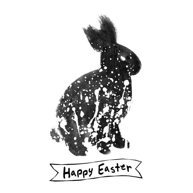 传染媒介:与兔子墨水刷子剪影的复活节卡片 皇族释放例证