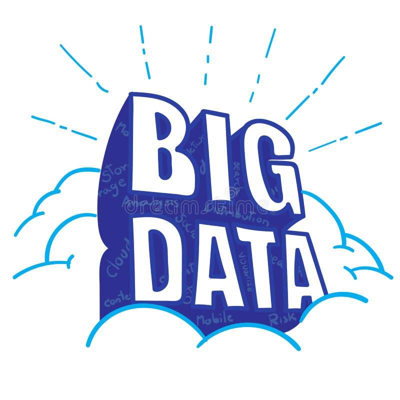 传染媒介:在云彩的大数据字与大数据以词insid为特色 向量例证