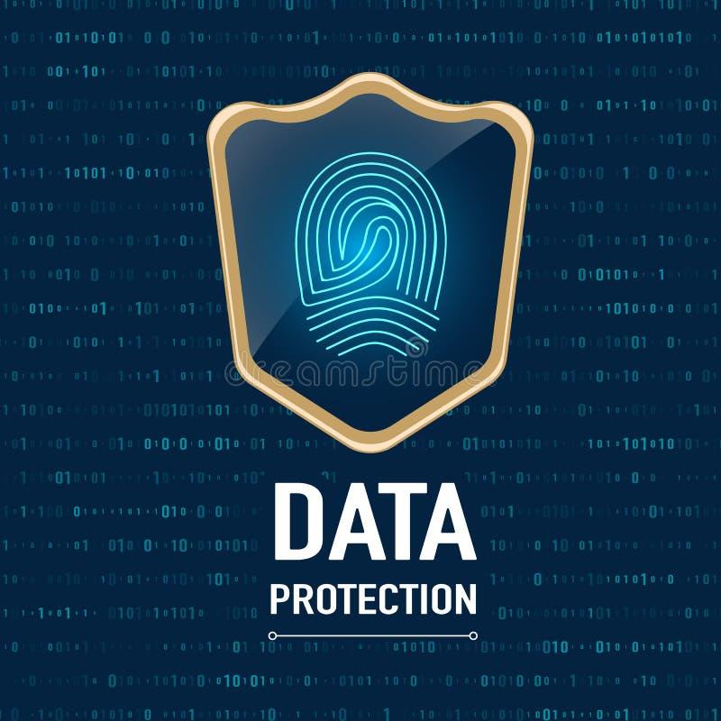 传染媒介:数据保护概念,金sheild保护手指p 库存例证