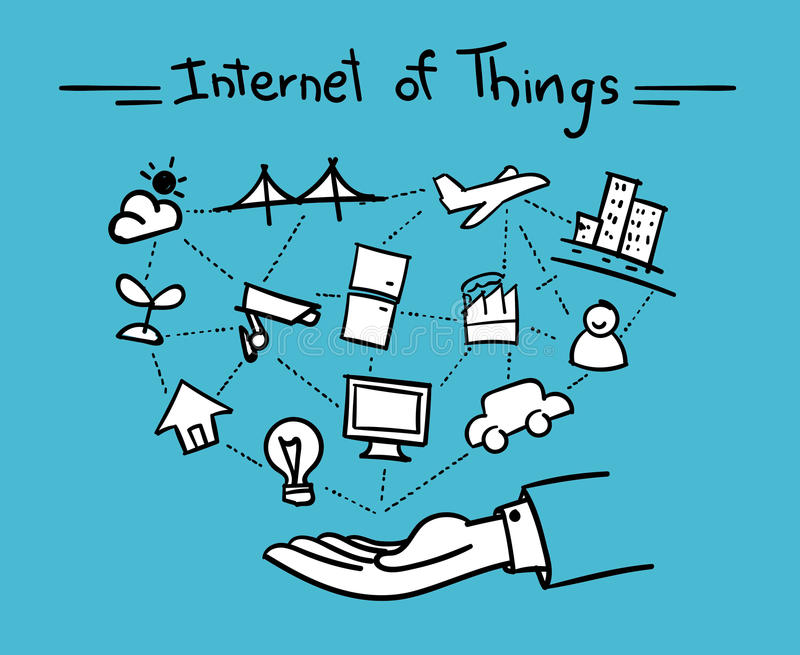 传染媒介:有事的开放手连接自己和互联网o 库存例证