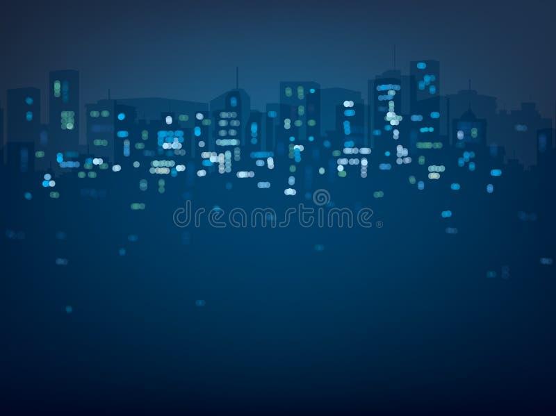 传染媒介bokeh夜城市背景 库存例证