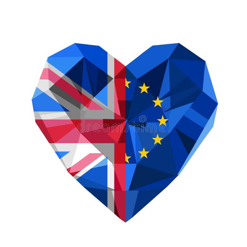 传染媒介Brexit例证 水晶首饰欧洲和英国心脏 皇族释放例证