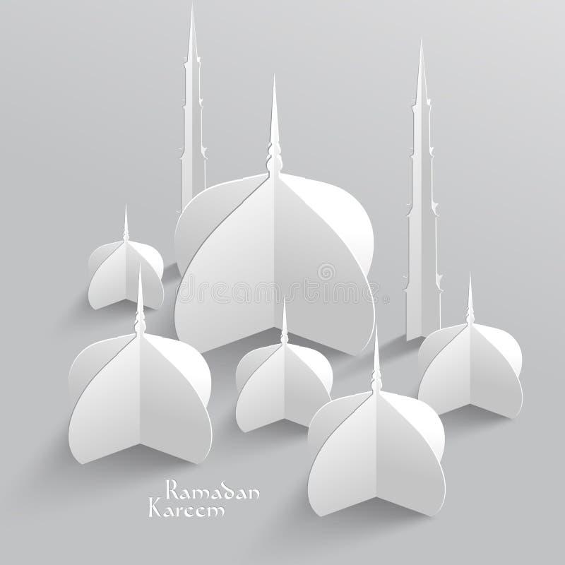 传染媒介3D清真寺纸雕塑 免版税库存照片