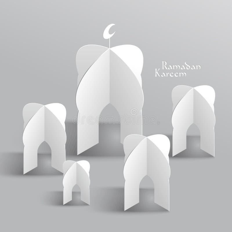 传染媒介3D清真寺纸雕塑 图库摄影