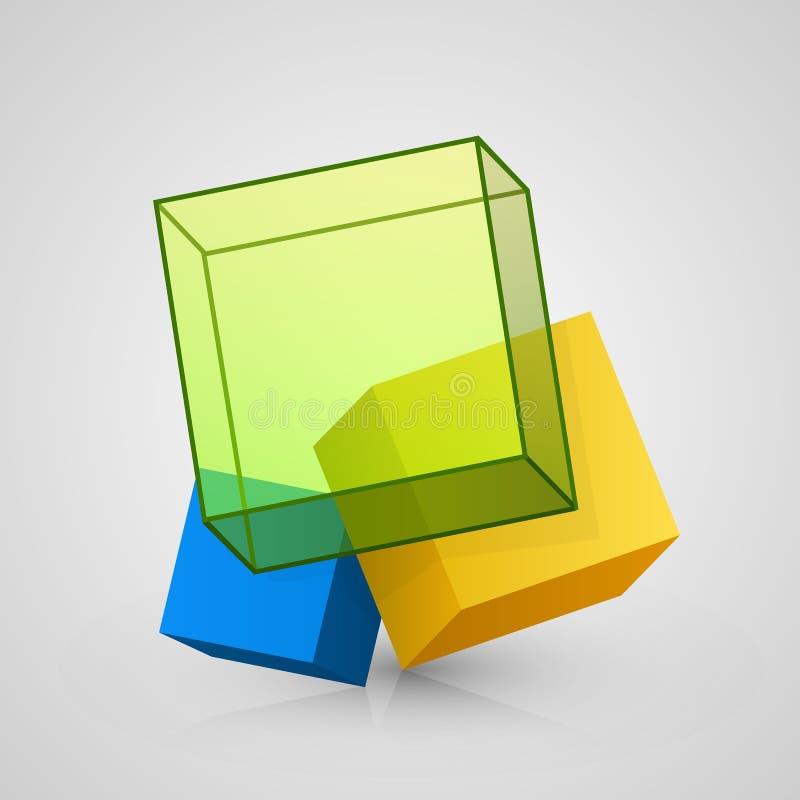 传染媒介3d立方体设计 皇族释放例证