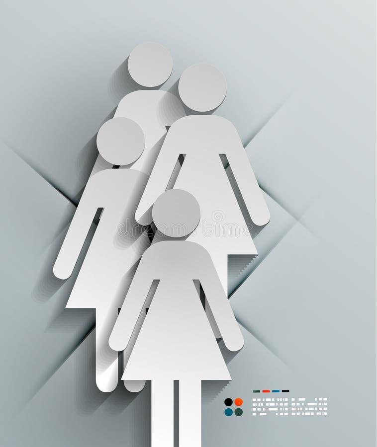 传染媒介3d纸妇女现代设计 库存例证