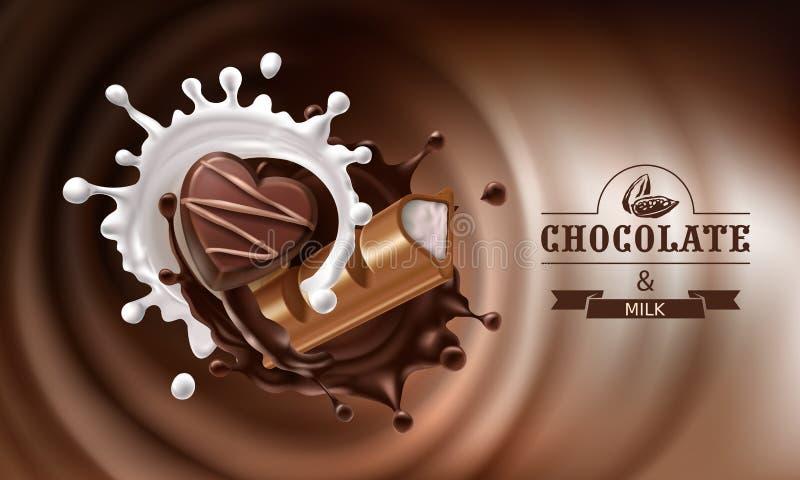 传染媒介3D飞溅熔化巧克力和牛奶与巧克力块和糖果落的片断  库存例证