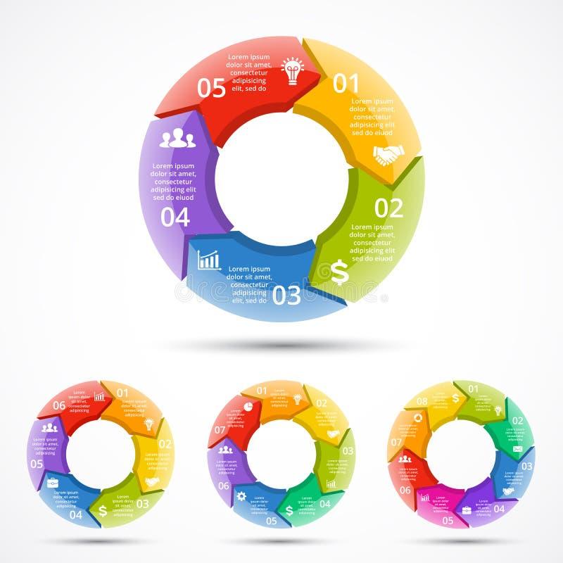 传染媒介3d infographic圈子的箭头 颜色周期图、图表、介绍和圆的图的模板 事务 向量例证
